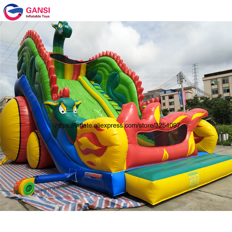 Promotion 11*6*7m inflatable dinosaur jumping castle with slide factory direct sale inflatable castle slide for amusement park used inflatable bounce castle jumping water slide for sale