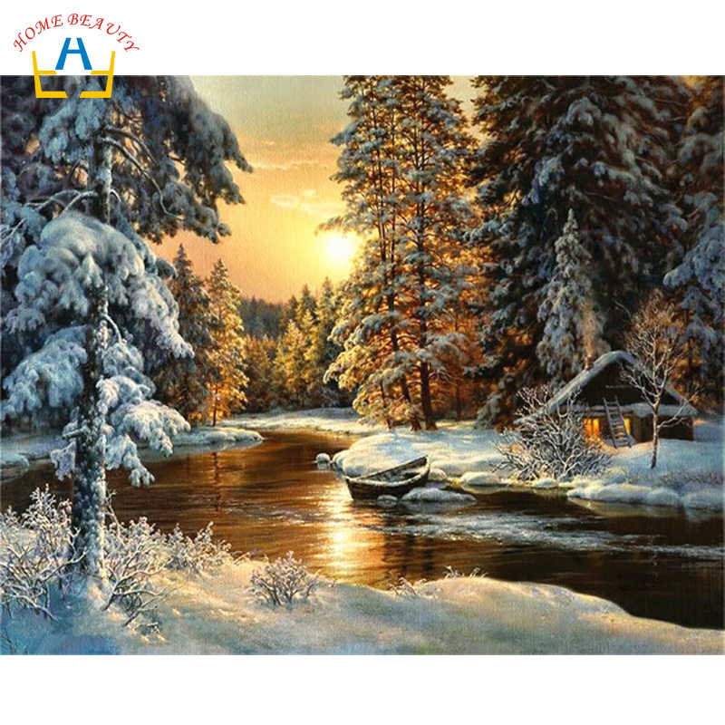 Pictures by numbers diy oil painting by numbers on canvas acrylic drawing paint by number sunrise snow river Y094