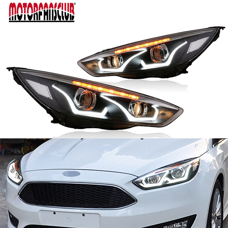 LED Headlight DRL Lens Double Beam Bi-Xenon HID Projector Lamp RH+LH For Ford Focus 2015 2016 2017 D2H 5000K 35W HI LOW BEAM led headlight drl lens double beam bi xenon hid projector lamp rh lh for ford focus 2015 2016 2017 d2h 5000k 35w hi low beam