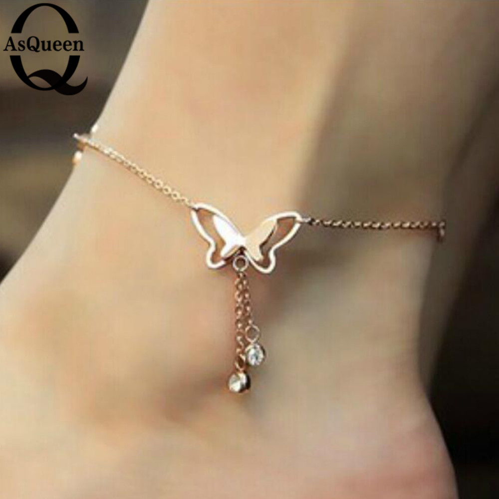 9a7cd996d Korean Fashion Charm Rose Gold Butterfly Rhinestone Sandal Anklet ...