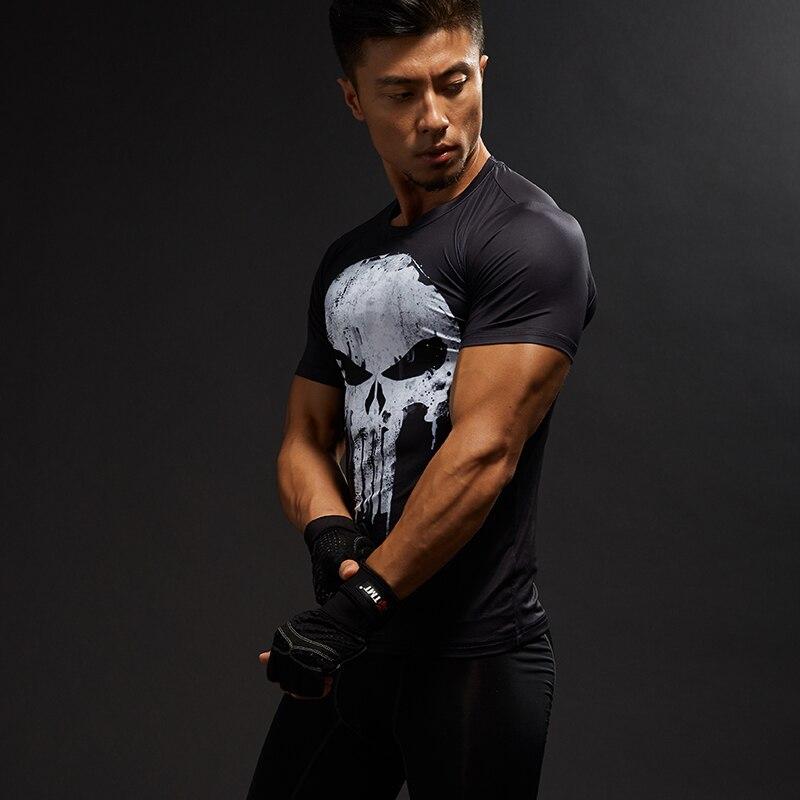 running - Punisher Gym Sport T Shirt Men Short Sleeve T-Shirt Male Tee Captain America Superman Compression Shirt MMA Skull Tops