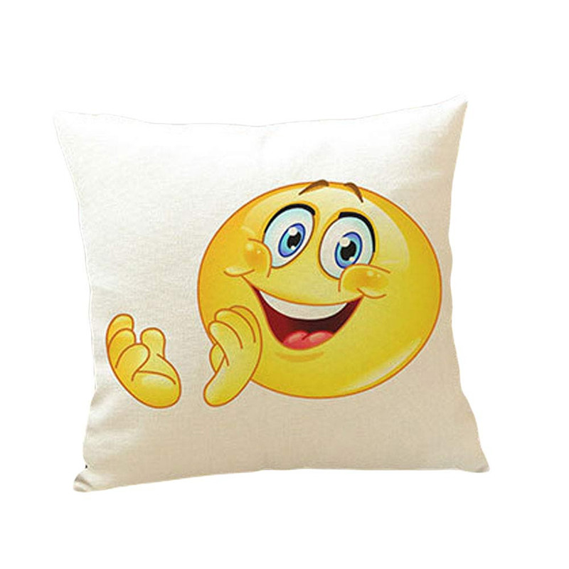 2017 Funny Clapping Emoji pillow case slip Cute QQ expression Happy style waist cushion case pillow cover 45*45cm on sale
