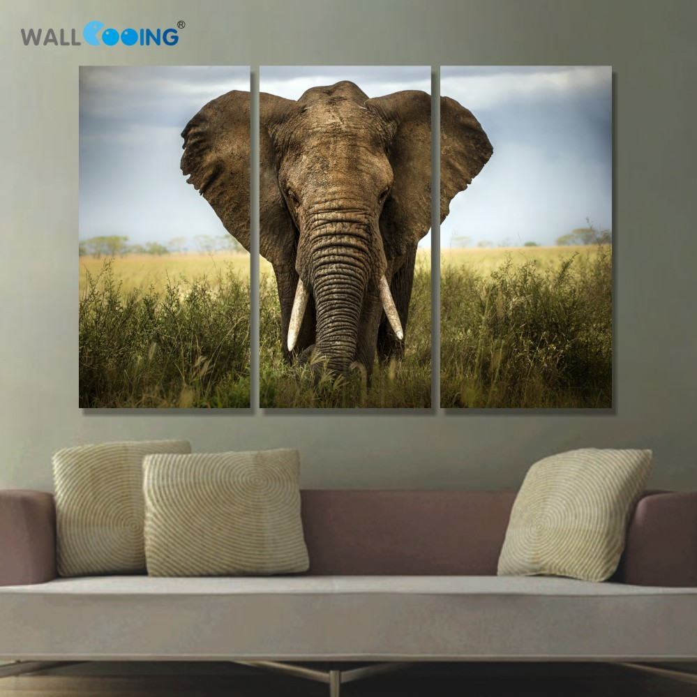 >3 panels canvas art <font><b>Prairie</b></font> elephant canvas painting Modular pictures setting spray <font><b>home</b></font> paintings <font><b>style</b></font> painting decor wall art