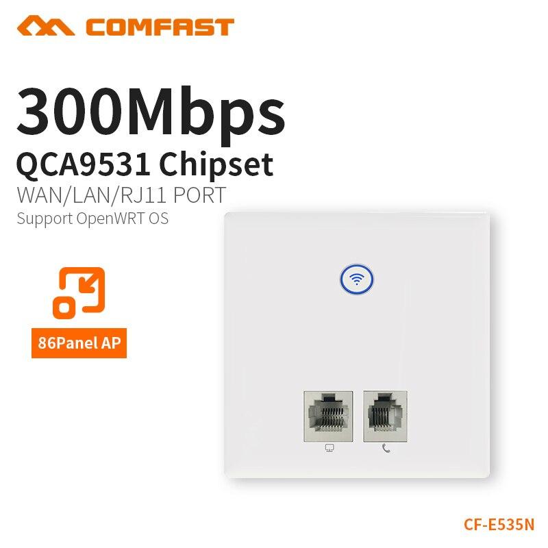 AP usmerjevalnik, vgrajen v steno 300Mbps, stenski vtičnik 2.4G brezžični dostop do brezžične povezave WIFI 86 Panel telefon RJ11 + RJ45 vrata AP CF-E535N