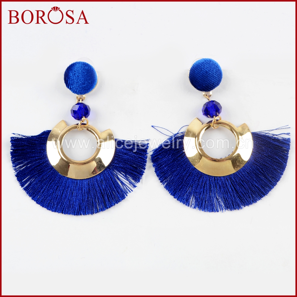 BOROSA 15pairs Boho Gold Tassel Earrings for Women Bohemian Jewelry Mixed Color Tassel Dangle Earrings Jewelry WX1011
