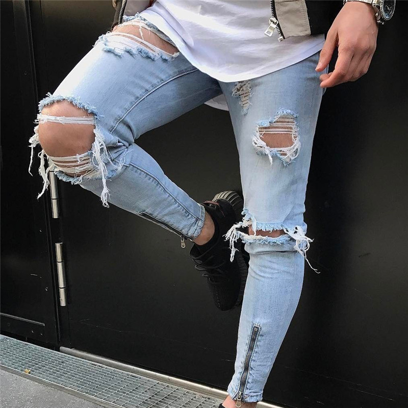 Men Cotton Classic Jeans Hip Hop Sweatpants Skinny Motorcycle Denim Pants Zipper Designer Jeans Mens Casual Jeans Trousers