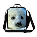 Designer seal Print lunch bags insulated for adults work,cute ilunch bag with bottle holder,children boy thermal lunch bag girly