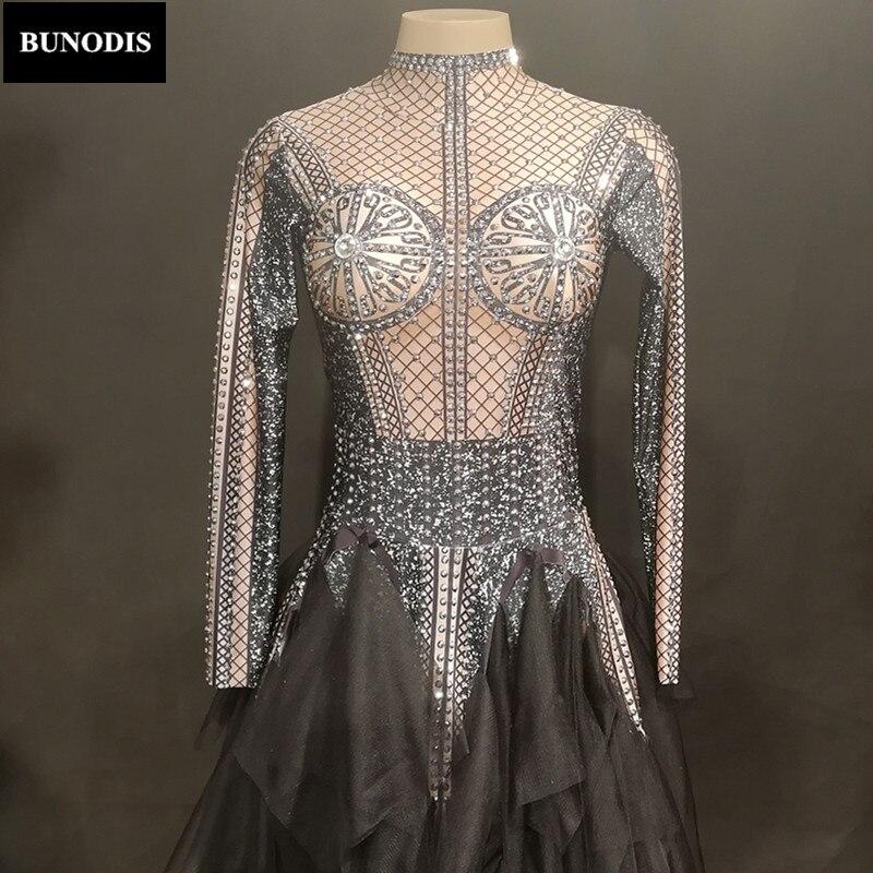 Discothèque Parti Femmes Jupe Noir Body Longue Net Porter Zd368 Fil Costumes Stage Danseur Mousseux Cristal Bling Chanteur vUz1qc