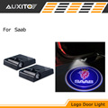 LED Car door logo projector light Welcome warning light car sticker with saab emblem logo For SAAB 9-3 9-5 9000 93