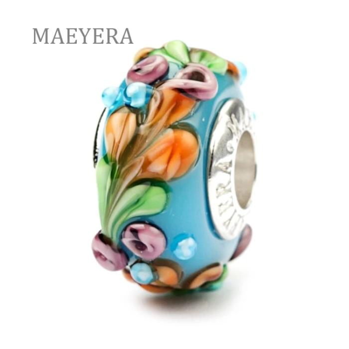 Lampwork Flowery Charm Bead