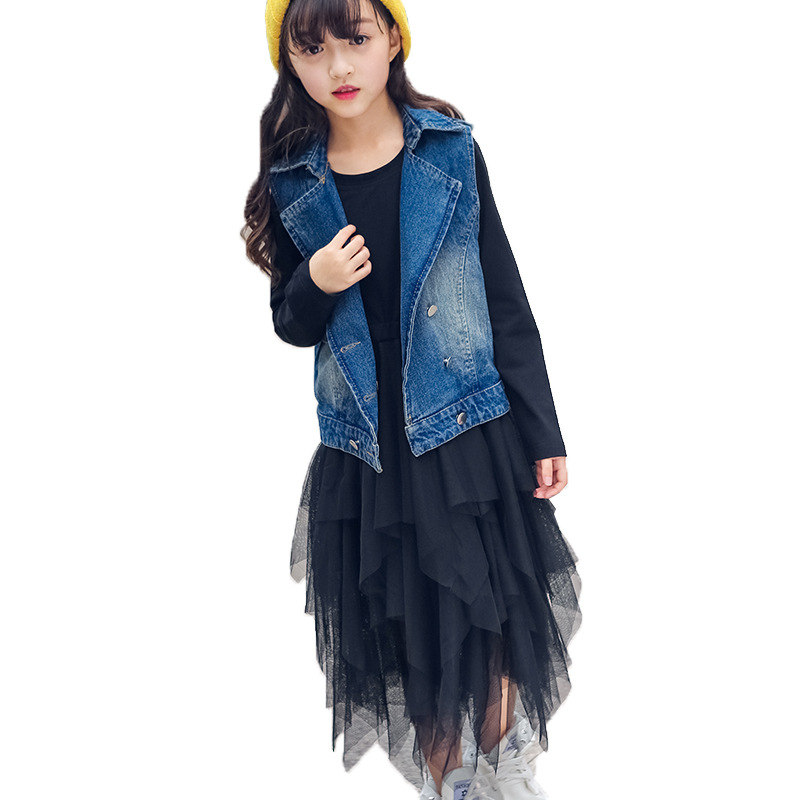 Teenage Girls clothing set 2018 spring autumn fashion dress + denim vest 2pcs Children clothing set school girls kids tracksuit stripes patterns teenage girls clothing