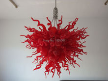 Free Shipping Brilliancy 110/220v AC Led Blown Glass Chandelier Red