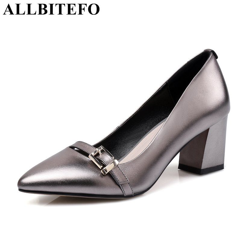 ALLBITEFO large size 34 43 full genuine leather thick heel women pumps fashion medium heel office