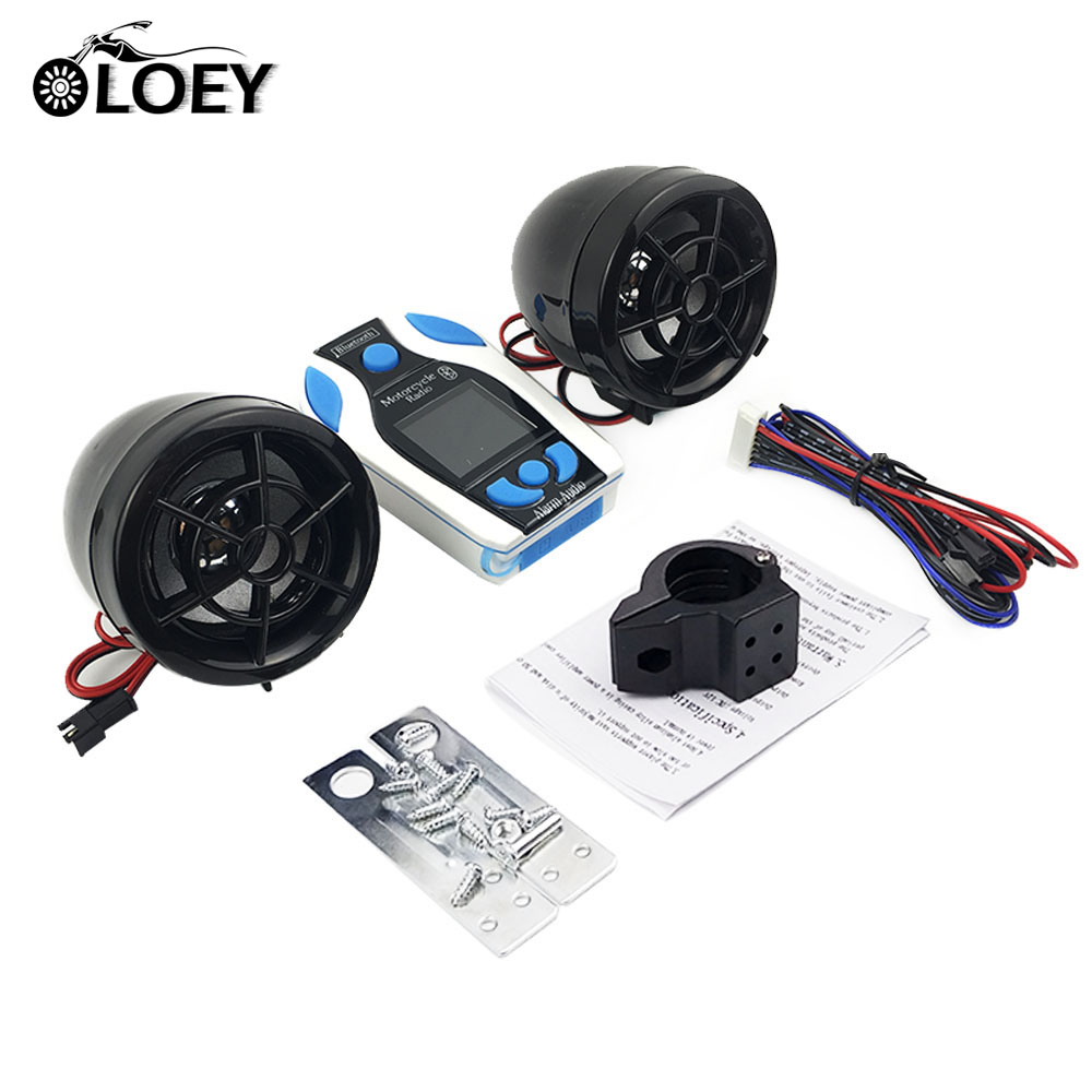 OLOEY Motorcycle Bluetooth MP3 Player Music Audio Stereo Speakers FM Radio USB SD TF Card  Scooter Moto Anti-Theft Alarm