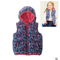 Nova meninas do bebê inverno colete estampado floral com crianças de lã quente colete com capuz outono crianças roupas crianças outerwear