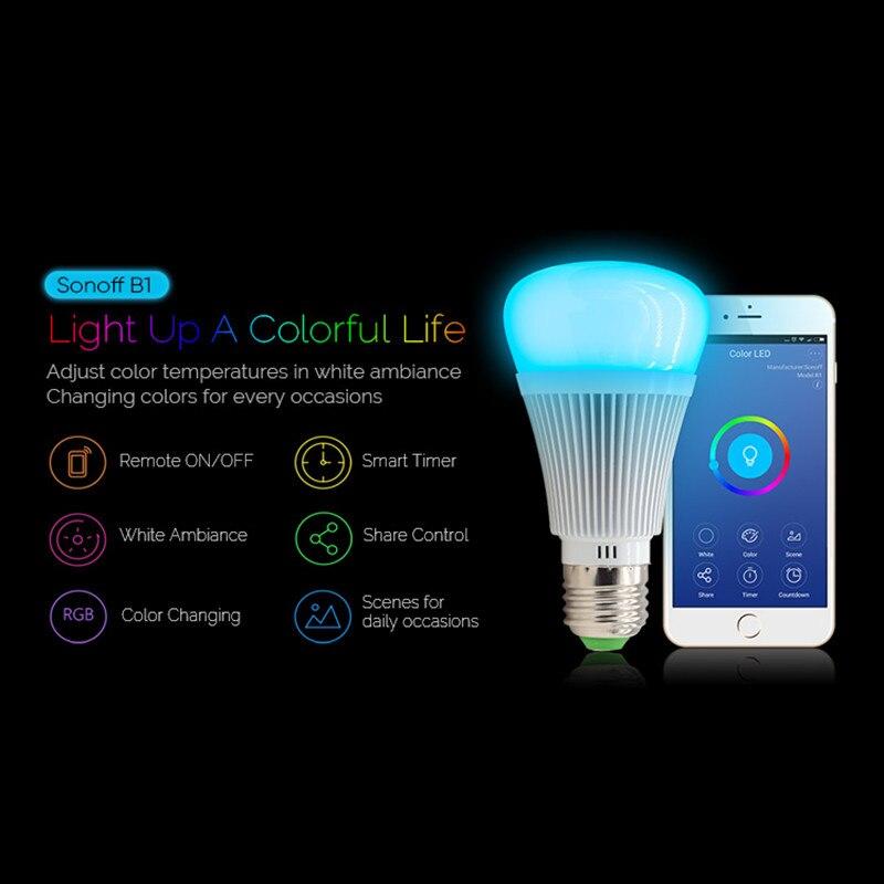 Sonoff B1 Gradateur E27 Led Ampoule Fonctionne Avec Alexa Wifi Intelligent Télécommande Lumière Ampoules Led RVB et blanc couleur Lumière Changeante ampoule