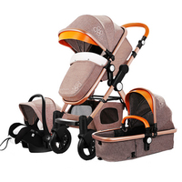 3 in 1 high landscape stroller children two-way can sit reclining folding four seasons universal leather stroller