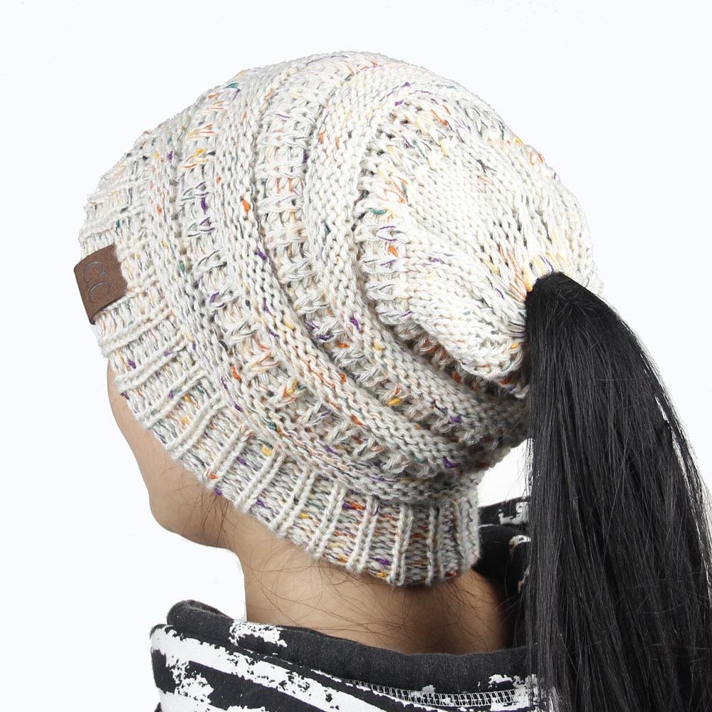 0cb4fb53d6f New Knitted Cap Dot Skullies Caps CC Beanies Winter Hat For Women Ponytail  Beanie Warm Soft Girl  s Hats Stylish Female. В избранное. gallery image