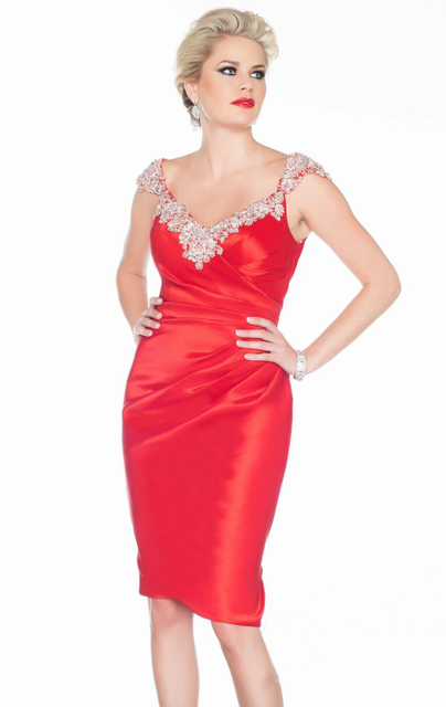 red Short Luxury Cocktail Dresses Rhinestones Sexy Party Gown Satin Vestidos Coctel Dress 2017 Shinning Women Summer Dress