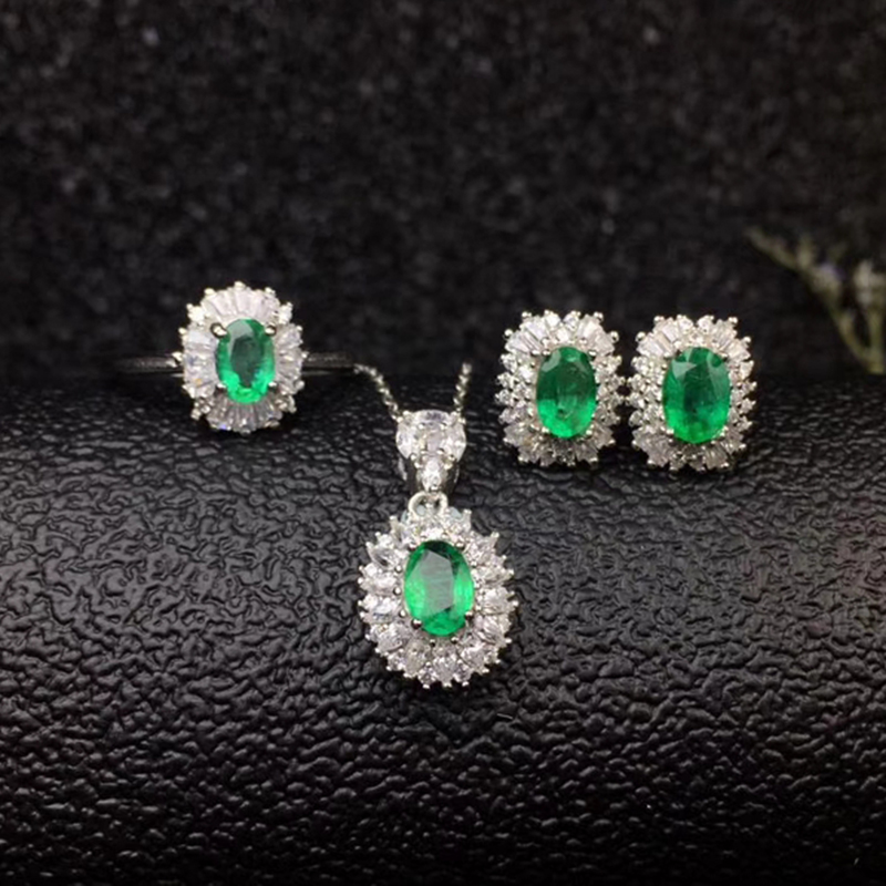 Dazzling emerald wedding jewelry set for woman 4 mm * 6 mm real natural emerald ring earrings pendant set silver emerald jewelry