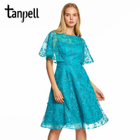 Tanpell Cap Sleeves A Line Prom Dresses Blue Lace Embroidery Knee Length Gown Women Cocktail Party