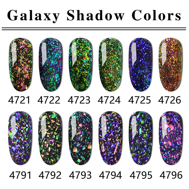 6 Bottles Ibdgel Color Uv Gel Nail Polish Glitter Galaxy Soak Off 15ml