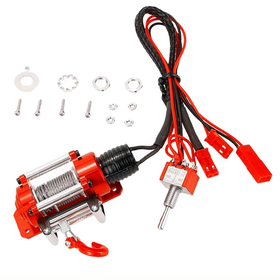 Mayitr 1 Set 1/10 RC Rock Crawler Climbing Cars Electric Metal Winch For SCX10 D90 D110 RC Parts Accessories