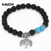 NADEEM New Design Vintage Charm Bead Bracelets Popular Tree Charm Bracelet Pendant Lava And Howlite Stone Strand Wrap Bracelets.