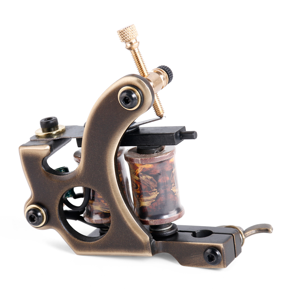 2017 Tattoo 12 Wraps  Copper Coils Tattoo Machine Permanent makeup for Machine Handmade Tattoo Gun Shader Liner free shipping 35000r import permanent makeup machine best tattoo makeup eyebrow lips machine pen