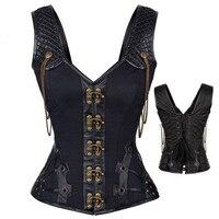 Steampunk Acciaio Disossato Corsetto Bustier di Cuoio DELL'UNITÀ di elaborazione delle donne Overbust Bustier corsetto Cincher Shaper con fibbie