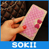 3D Lovely Bling Crystal Diamonds Bow PU Leather Wallet Case Cover For Samsung Galaxy J3 J5