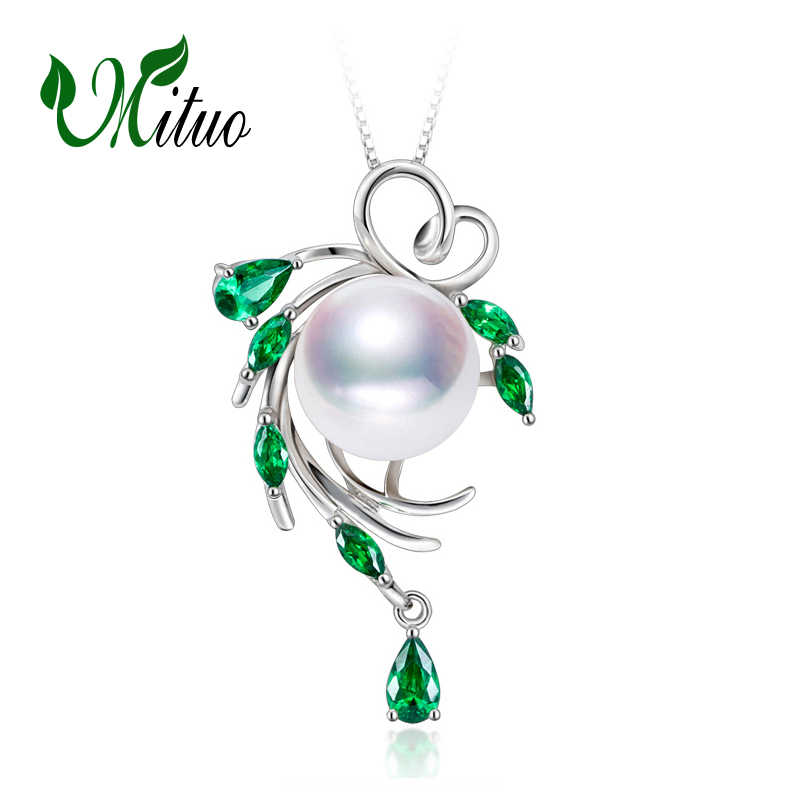 MITUO 925 sterling silver necklace ,pearl jewelry statement necklace Pearl pendant for women flower beryl Bohemia necklace 2018