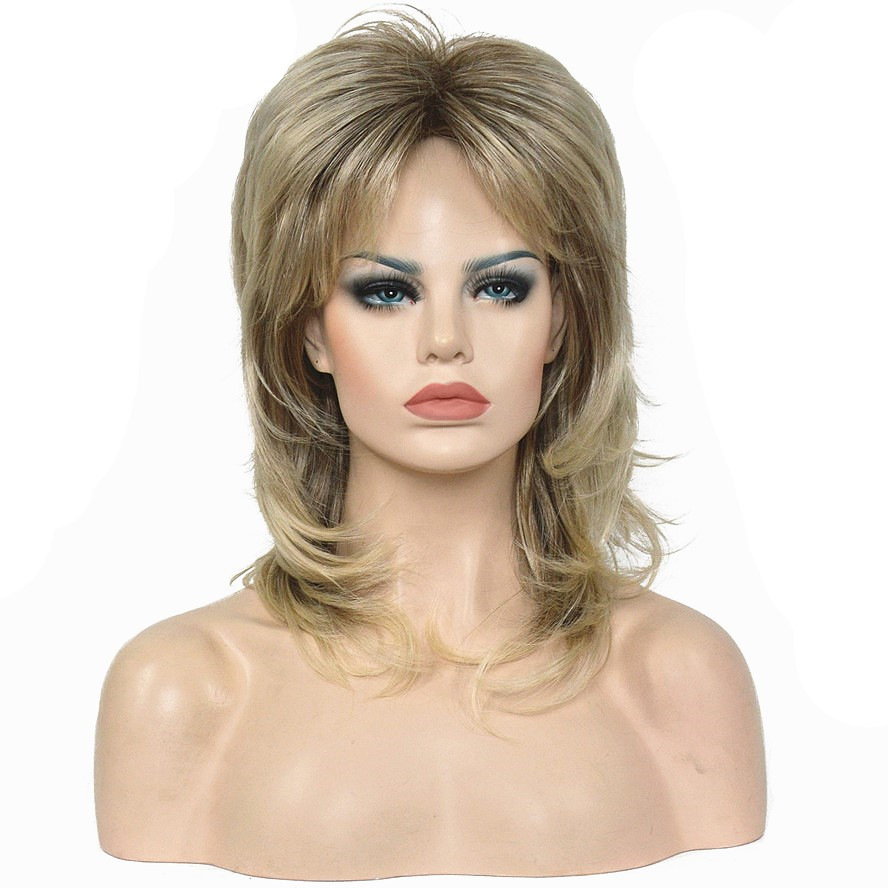 StrongBeauty Women s Wigs Ash Blonde Medium Length Straight Layered Hair Synthetic Full Wig