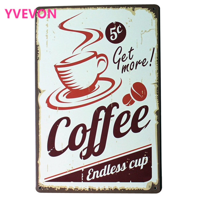 Get More COFFEE Metal Tin Sign Fashion Retro Decor Plaque For Shop Bar Kitchen  Wall Art