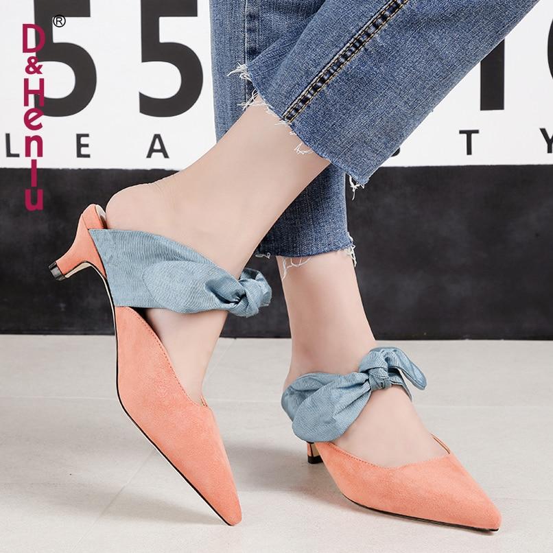 Mules apricot pink Bajo Las Nudo amp; {d Zapatos Mules black Tacón Mules Zapatillas Señoras Mujer Mariposa Mujeres De Black Punta Mulas Tacones Henlu} Mules BR6Exwq6g