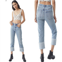 New spring hot fashion casual cuffed ladies pants stitching high waist wide leg ladies jeans loose women's nine points jeans cuffed nine minutes of taper fit jeans