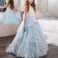Children Dress for Girls Sleeveless Lace Tulle Puffy Trailing Long Wedding Dresses for Kids Birthday First Communion Girls Dress