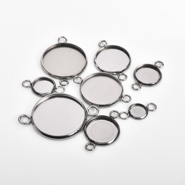 30Pcs Stainless Steel Connector Setting Round Double Loop Cabochon Base Cameo Bezel 6mm 8mm 10mm 12mm 14mm 16mm 18mm 20mm 25mm 3