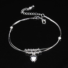 New Charm Silver Plated Bead Anklets for Women Ankle Bracelet Chain Crystal Foot Jewelry