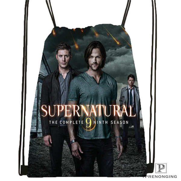 Custom Supernatural   Drawstring Backpack Bag Cute Daypack Kids Satchel (Black Back) 31x40cm#20180611-02-90
