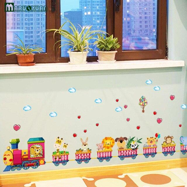 Cartoon Tiere Kleine Zug Kombination Aufkleber Kinderzimmer Kindergarten  Wohnzimmer Schlafzimmer Dekorative Wandaufkleber Großhandel