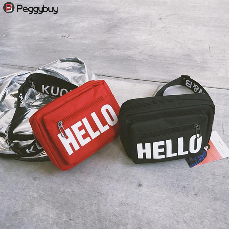 2018 Letters Print Women Waist Pack High Fashion Female Canvas Fanny Pack Shoulder Chest Pouch Casual Belt Bag Heuptas elastic waist stars and letters print faux twinset for men