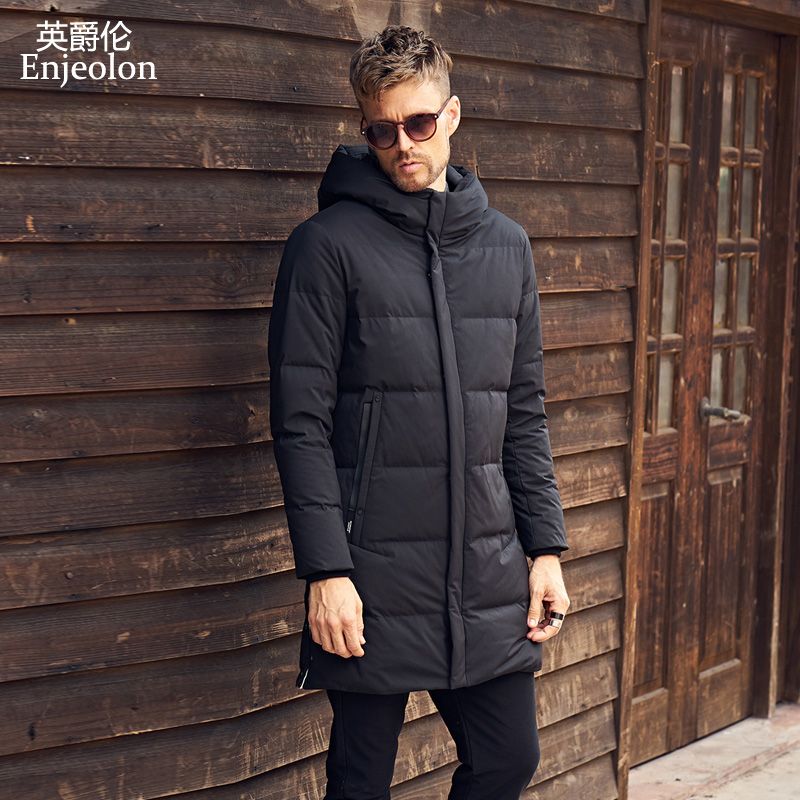 Enjeolon brand new thicken winter long down jacket men light parka clothing White duck down coat quality down parka MF0120