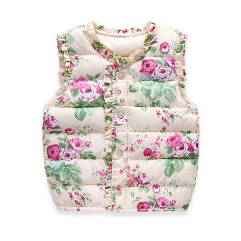 Autumn Winter Sweet Floral Children's Vest Girls Jackets Cotton Warm Kids Vest For Girl Waistcoat Children Outerwear Coats floral slash neck vest page 1