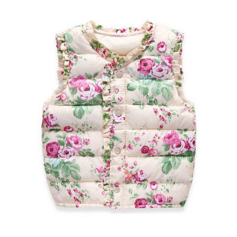 Children's Vest For Girls Baby Girl Clothes Kids Baby Sweet Print Jackets Outerwear Cotton Warm Children Vest Waistcoat Coats