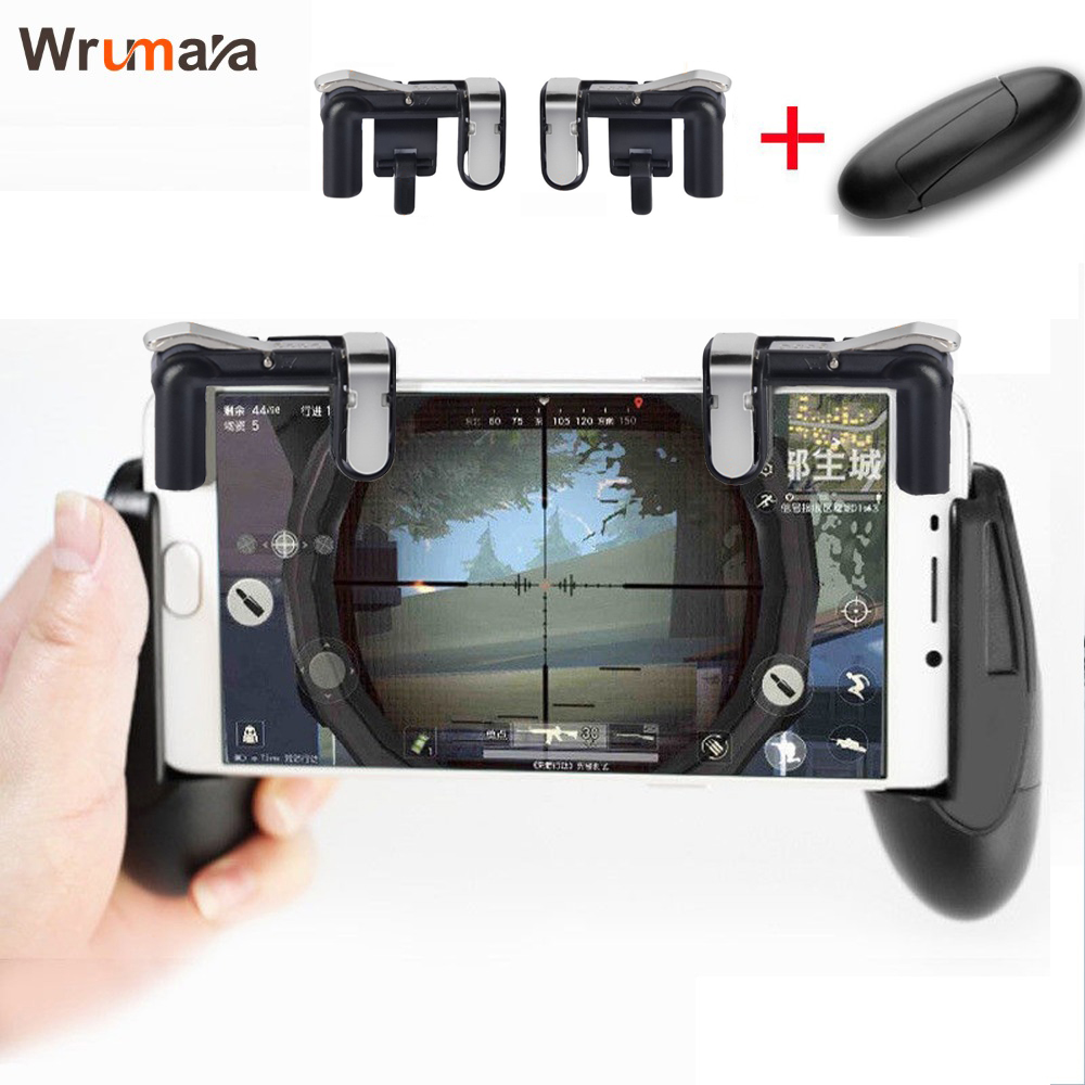 Wrumava Mobile phone and controller gun game trigger button for PUBG / knives / survival rules IOS Andriod phone