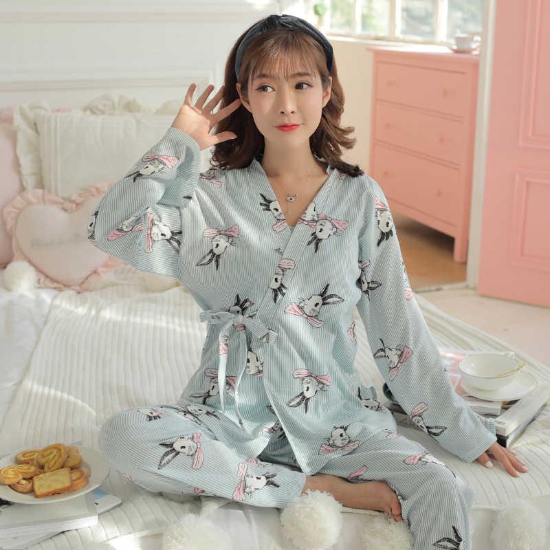 1247642db365a ... 1389# 3 PCS Set Cartoon Print Cotton Maternity Nursing Nightwear  Breastfeeding Pajamas for Pregnant Women ...