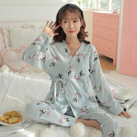 1389# 3 PCS Set Cartoon Print Cotton Maternity Nursing Nightwear Breastfeeding Pajamas for Pregnant Women Pregnancy Sleepwear