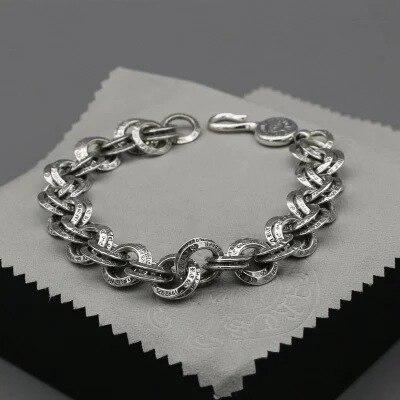 S925 Sterling Silver Ring Tide Male Bracelet Retro Personality Female Jewelry Creative Couple Student Bracelet