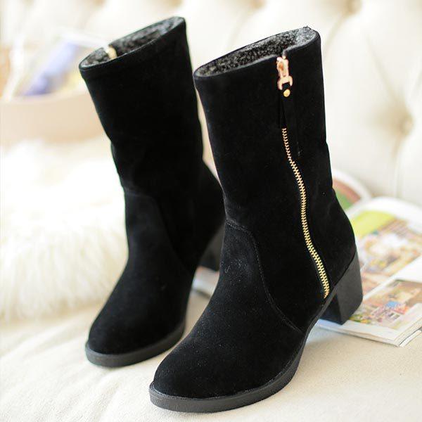 ФОТО Big size 34-43 Snow Boots Metal chain zipper Punk Rivets Women Fashion Half Knee High Boots chunky Heels Winter Warm Fur Shoes